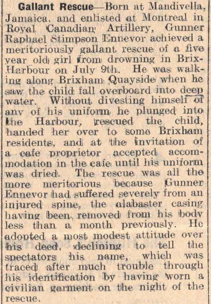 news article from Brixham Western Guardian, July 1941